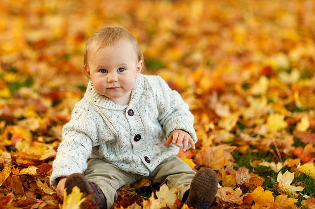 Kind Herbst Boden Laub